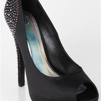 satin peep toe pump with stone detail - 1000050882 - debshops.com