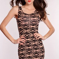 Mocha Black Tribal Print Cutout Dress
