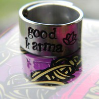 good karma/lotus handstamped 3/8 inch aluminum ring