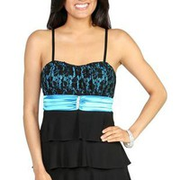 spaghetti strap dress with lace and iridescent bodice and tiered skirt - 1000050328 - debshops.com