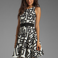 Milly Rectangles Print on Silk Linen and Silk GGT Circle Dress in Black from REVOLVEclothing.com