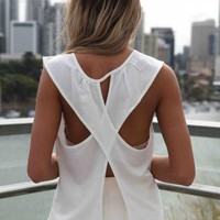 White Sleeveless Asymmetric Top with Open Cross Back