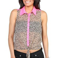 all over cheetah print tank with neon pink yoke and collar - 1000046395 - debshops.com