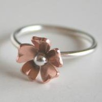 Petite Copper Flower Ring by Vostrejs on Etsy