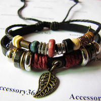 Men or Women Soft Leather Bracelet with Color Bead by braceletcool