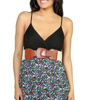 spaghetti strap dress with floral print and leather saddle belt  - 1000048842 - debshops.com