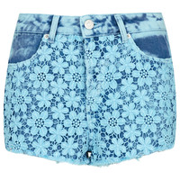 MOTO Crochet Denim Short - Shorts - Clothing - Topshop USA