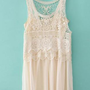 Beige Sleeveless Lace Crochet Chiffon Dress