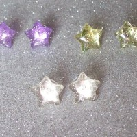 Jelly Glitter Star Stud Earrings - Your Choice of Colors from On Secret Wings