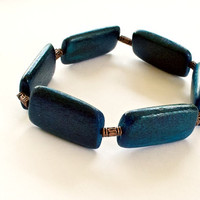Blue and Copper Stretch Cord Bracelet One size fits most