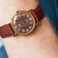 Vintage gold plated men's watch ZIM wrist watch brown face mint condition watch