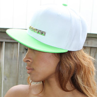 Neon Green and White Gold Studded Snapback