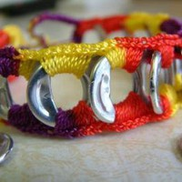 ReCycladelic Pop Top Bracelet Mardi Gras by lanmom on Zibbet