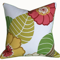 Modern Spring Pillows Flowers in Coral Pink by PillowThrowDecor