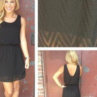 Black Sleeveless Chevron Textured Dress with Round Neckline
