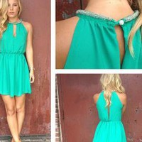 Green Mini Dress with Beaded Neckline &amp; Cutout Front &amp; Back