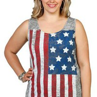 plus size slub racerback tank with american flag screen - 1000048942 - debshops.com