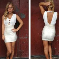Gold Foil Mini Dress with White Cutout Front &amp; Back Detail