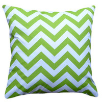 Lime Green and White Designer Zigzag Pillows by PillowThrowDecor