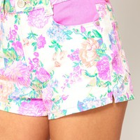 Minkpink Electric Field Denim Shorts in Fluro Floral Print