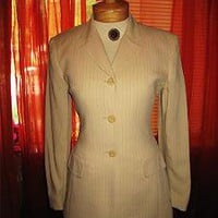 JONES NEW YORK SUMMER JACKET IVORY PINSTRIPES  LINED !S6