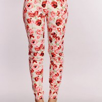 Pink Floral Print High Waist Leggings