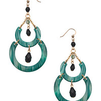 Bellissima Emerald Double Crescent Jet Bead Earrings - Max & Chloe