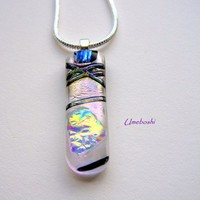 Moonlit Chrysalis Dichroic Fused Glass Iridescent Pendant OOAK