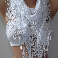 Elegant scarf  lace scarf... White