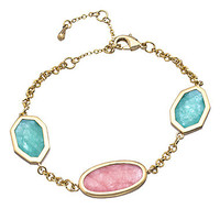 OroClone Gold Rose Aventurine and Amazonite Linear Bracelet - Max & Chloe