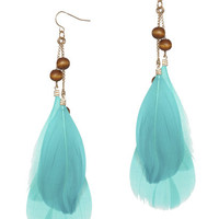 Wood Bead Feather Earring | Shop Summer Roadtrip at Wet Seal