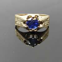 Large Victorian Carved Setting Blue Sapphire Ring - RGSA101N