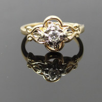 Sweet Scroll and Flower Design Vintage Diamond Ring - RGDI2013N