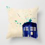 Doctor Who TARDIS Rustic Throw Pillow by Colin Capurso