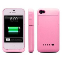 Amazon.com: Greenery Slim External Rechargeable Backup Battery Charger Charging Case Cover for iPhone 4 4s (2000mAh) (Iphone 4/4s 1900mAh PINK): Beauty