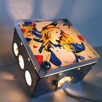 Alice In Wonderland Deck Of  Cards Repurposed Upcycled Light Box Night Lights