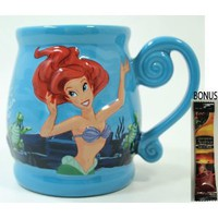 "Disney Parks The Little Mermaid ""Ariel's Undersea Adventure"" Embossed Coffee Mug - Disney Parks Exclusive & Limited Availability + BONUS Single Pack Arabica Coffee"