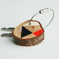 SUMMER SALE 20% OFF - Pine wood keychain with stainless steel cable wire, black, white, pink and orange geometric triangle shapes
