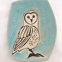 Barn Owl on Light Blue Crackle Glaze Platter