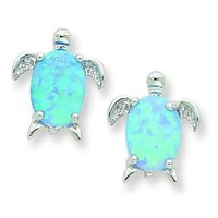 Silver Created Opal Turtle Post Earrings. Metal Weight- 1.6g.