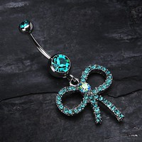 Sparkling Ribbon Dangle Belly Ring