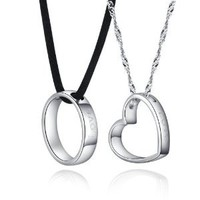 """925 Sterling Silver Couple Necklace for 2 Engraved Love Forever Round Heart Shaped Pendant Necklace 18"""""""