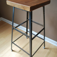 "Reclaimed Wood and Steel Industrial Shop Stool. Made in Chicago. Qty (4) 25"" counter height - QUICK SHIPPING"