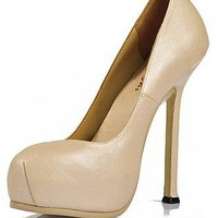 [73.99] Junoesque Sheep Leather Nude Stiletto Heel Pumps Closed Toe Bridal Party /  Evening Shoes  - Dressilyme.com