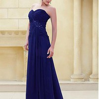 [149.99] Junoesque Chiffon A-line Sweetheart Neckline Inverted Basque Waist Full Length Beaded Mother of the Bride Dress  - Dressilyme.com
