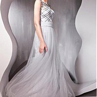[191.29] In Stock Elegant Transparent Net & Malay Satin Sheath Bateau Neckline Prom Dress - Dressilyme.com