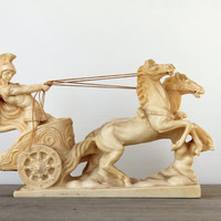 Vintage A Santini Roman chariot Carrara marble sculpture / classical home man cave den decor / masculine / Italy / Roman charioteer soldier