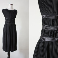 vintage 1950's black bow dress