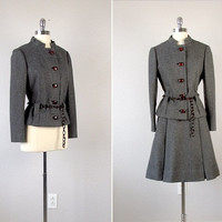 Vintage Wool Suit /  1960s Wool Dress Suit  /  Vintage 1960s Skirt & Blazer