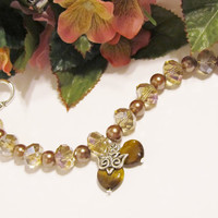 Two Hearts and a Dove Brown/Taupe/Bronze Crystal & Pearl Wedding Bracelet